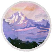 Mount Kenya At Dawn Round Beach Towel