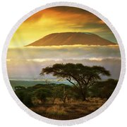 Mount Kilimanjaro Savanna In Amboseli Kenya Round Beach Towel