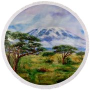Round Beach Towel featuring the painting Mount Kilimanjaro Tanzania by Sher Nasser