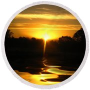 Mount Lassen Sunrise Gold Round Beach Towel
