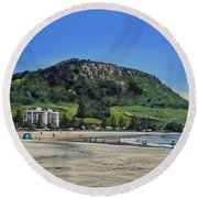 Round Beach Towel featuring the painting Mount Maunganui Beach 151209 by Sylvia Kula