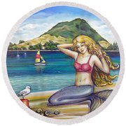 Mount Maunganui Beach Mermaid 160313 Round Beach Towel by Selena Boron