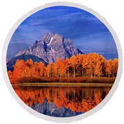 Round Beach Towel featuring the photograph Mount Moran And Fall Color Grand Tetons by Dave Welling