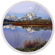 Mount Moran And Jackson Lake Round Beach Towel by Gary Holmes
