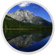 Mount Moran And String Lake Round Beach Towel
