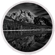 Mount Moran In Black And White Round Beach Towel