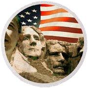 Barack Obama On Mount Rushmore - American Art Poster Round Beach Towel