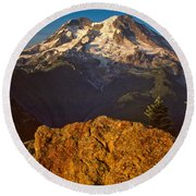 Mount Rainier At Sunset With Big Boulders In Foreground Round Beach Towel by Jeff Goulden