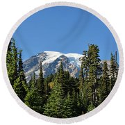 Mount Rainier Evergreens Round Beach Towel