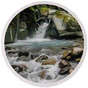 Mount Rainier Falls Round Beach Towel by John Haldane