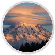 Mount Rainier In November  Round Beach Towel
