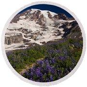 Mount Rainier Wildflower Meadows Round Beach Towel