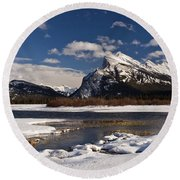 Mount Rundle Round Beach Towel by Dee Cresswell