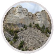 Mount Rushmore In South Dakota Round Beach Towel by Clarice  Lakota