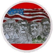 Mount Rushmore Round Beach Towel by Kathy Marrs Chandler
