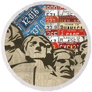 Mount Rushmore Monument Vintage Recycled License Plate Art Round Beach Towel by Design Turnpike