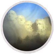Mount Rushmore National Memorial Through The Fog  Round Beach Towel