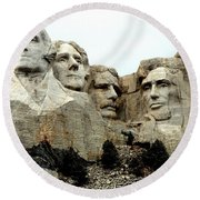 Mount Rushmore Presidents Round Beach Towel by Clarice  Lakota