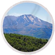 Mount St. Helens And Castle Lake In August Round Beach Towel by Connie Fox