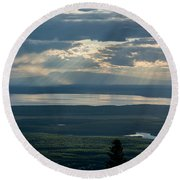 Mount Susitna Round Beach Towel