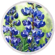 Round Beach Towel featuring the painting Mountain Blues Lupine Study by Barbara Jewell