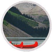 Mountain Canoes Round Beach Towel by Marcia Socolik