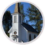 Mountain Chapel Round Beach Towel