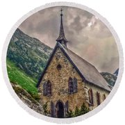Round Beach Towel featuring the photograph Mountain Chapel by Hanny Heim