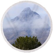 Mountain Cloaked Round Beach Towel