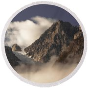 Mountain Clouds Round Beach Towel