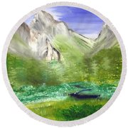 Mountain Day Round Beach Towel