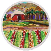 Round Beach Towel featuring the painting Mountain Farm by Mary Carol Williams