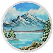Round Beach Towel featuring the painting Mountain Lake In Winter Original Painting Forsale by Bob and Nadine Johnston