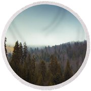 Mountain Landscape In Romania Round Beach Towel