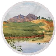 Mountain Landscape With Egret Round Beach Towel