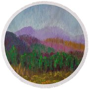 Mountain Meadow Round Beach Towel by Margaret Bobb
