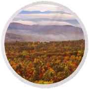 Mountain Mornin' In Autumn Round Beach Towel by Lydia Holly