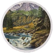 Mountain Of The Holy Cross Round Beach Towel