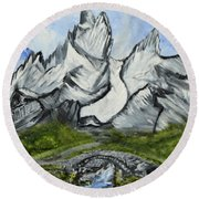 Mountain Path Round Beach Towel