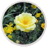 Mountain Rose Round Beach Towel by Janice Westerberg