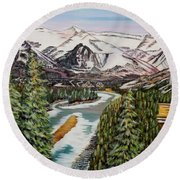 Round Beach Towel featuring the painting Mountain Spring - Banff Springs by Marilyn  McNish