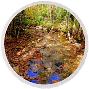 Mountain Stream Covered With Fall Leaves Round Beach Towel