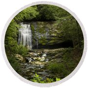 Mountain Stream Falls Round Beach Towel