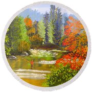 Round Beach Towel featuring the painting Mountain Stream by Pamela  Meredith