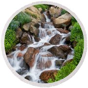 Round Beach Towel featuring the photograph Mountain Stream by Ronda Kimbrow