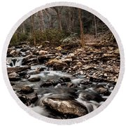 Round Beach Towel featuring the photograph Icy Mountain Stream by Debbie Green
