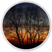 Round Beach Towel featuring the photograph Mountain Sunset by Kathryn Meyer