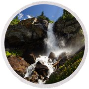 Mountain Tears Round Beach Towel