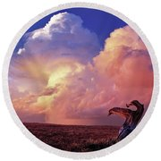 Mountain Thunder Shower Round Beach Towel