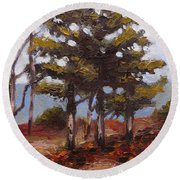 Mountain Top Pines Round Beach Towel